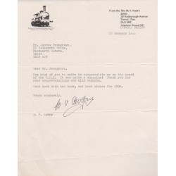 Rev W V Awdry Thomas the Tank genuine signed authentic signature letter COA UACC