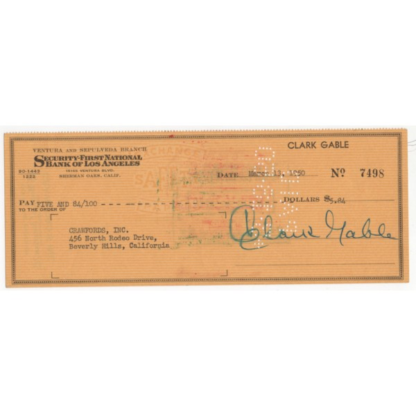 Clark Gable Gone With the Wind authentic signed genuine autograph cheque