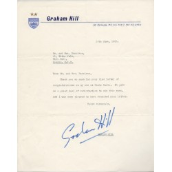 Graham Hill BRM F1 Monaco authentic genuine signature signed letter COA RACC