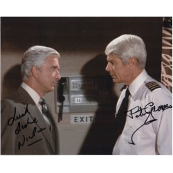 Leslie Nielsen Peter Graves Airplane genuine authentic autograph signed photo COA