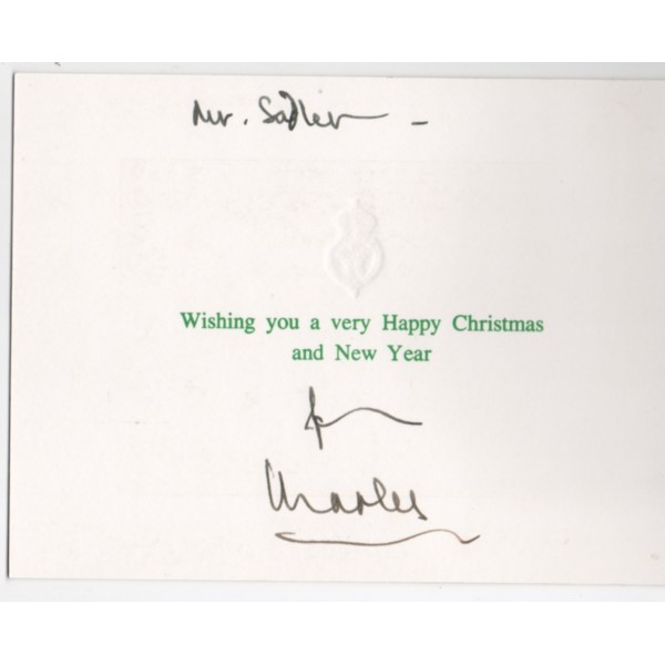 Prince Charles genuine authentic signed card royalty