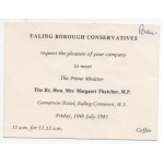 Dennis Thatcher Margaret genuine authentic signed autograph invitation card COA