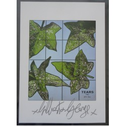 Gilbert and George authentic genuine signature signed print 'Tears'