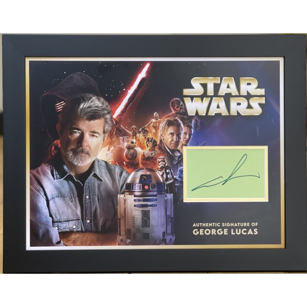 George Lucas Star Wars genuine authentic autograph signed signature display