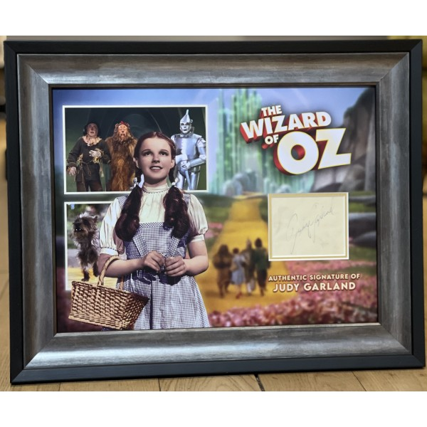 Judy Garland Wizard of Oz genuine authentic autograph signature display