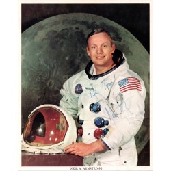 Neil Armstrong Apollo 11 autograph signed NASA litho image.