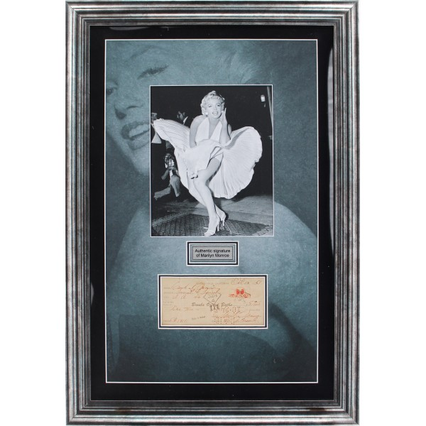Marilyn Monroe signed cheque genuine signature autograph display
