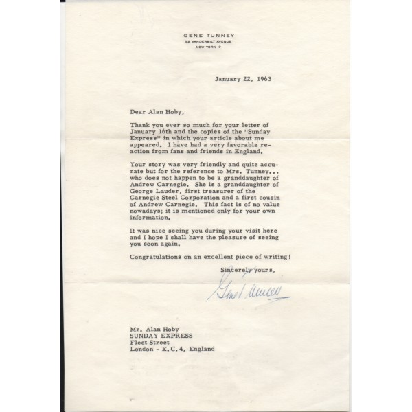 Gene Tunney Heavyweight Boxing genuine authentic signed letter signature