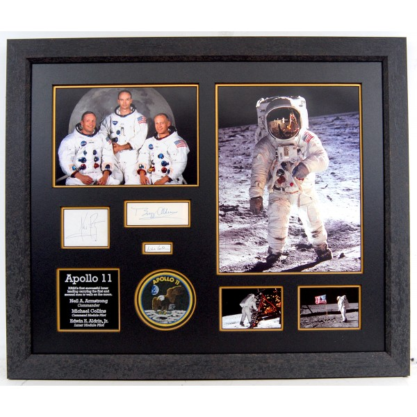 Apollo 11 Neil Armstrong Aldrin Collins genuine authentic autograph signed display