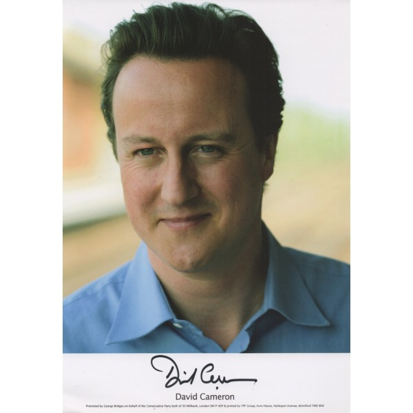 David Cameron PM politics authentic genuine signed photo