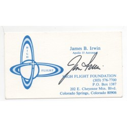 Jim James Irwin Apollo signed Genuine signature High Flight card COA