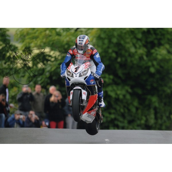 John McGuinness IOM TT Honda genuine signed authentic signature photo