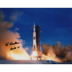 Al Worden Apollo 15 lift off authentic signed Genuine signature photo