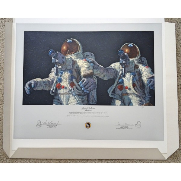 Alan Bean Pete Conrad signed Apollo authentic signed Genuine print