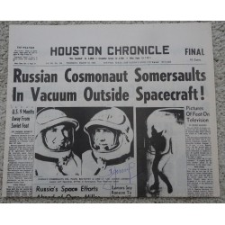 Alexei Leonov First Space Walk authentic signed Genuine signature newspaper