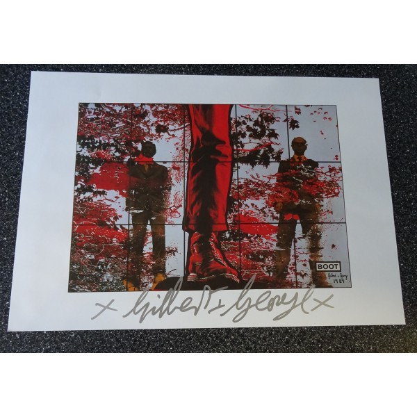 Gilbert and George authentic genuine signature signed print 'Boot'