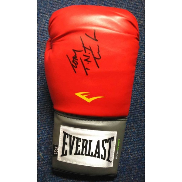 Tony Tucker signed full size red Lonsdale boxing glove
