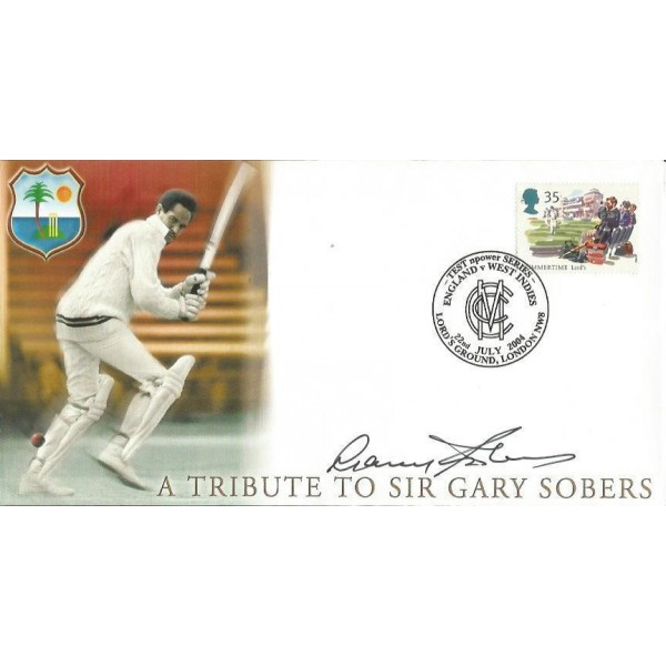 Gary Sobers signed on his own 2004 Cricket FDC WD81