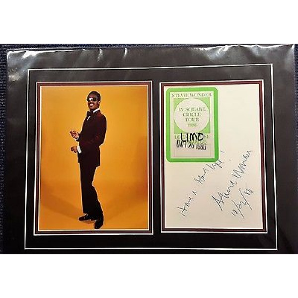 Stevie Wonder music star signed autograph display OB246