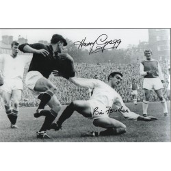 Harry Gregg and Bill Foulkes hand signed authentic photoM556