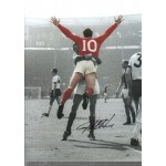 Geoff Hurst 1966 Signed Football photo authentic autographM326