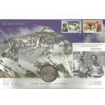 Sir Ed Hillary signed 2003 New Zealand Everest 50th Coin FDC WD133