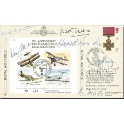 Seven Top WW2 fighter aces signed JSF12 cover 75th Ann 32 Squadron AK92