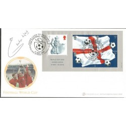 Emlyn Hughes signed Internetstamps official 2002 Football World Cup FDC WD60