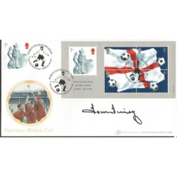 Tom Finney signed Internetstamps official 2002 Football World Cup FDC WD55