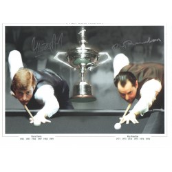 Ray Readon Steve Davis Double signed genuine snooker photo COAM599