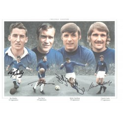 Four Chelsea Legends Signed Football photo authentic autographM280