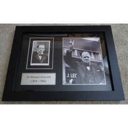 Winston Churchill signed genuine authentic autograph photo display