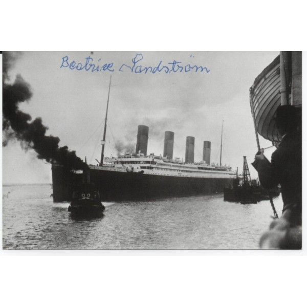 Beatrice Sandstrom Titanic Survivor genuine authentic signed autograph image