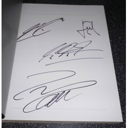Kimi Raikkonen Michael Schumacher Ferrari F1 genuine authentic signed autograph yearbook.