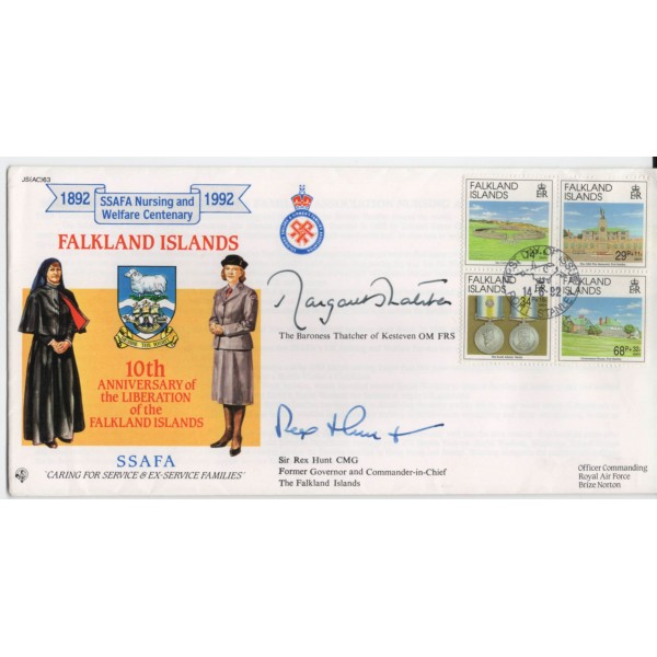 Margaret Thatcher PM Rex Hunt genuine authentic signed autograph FDC