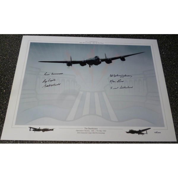 Dambuster 617 Grayston  Johnson Munro Sutherland McDonald genuine authentic signed photo