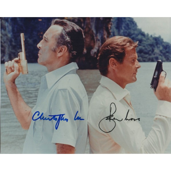 James Bond Roger Moore Christopher lee genuine signed autograph photo