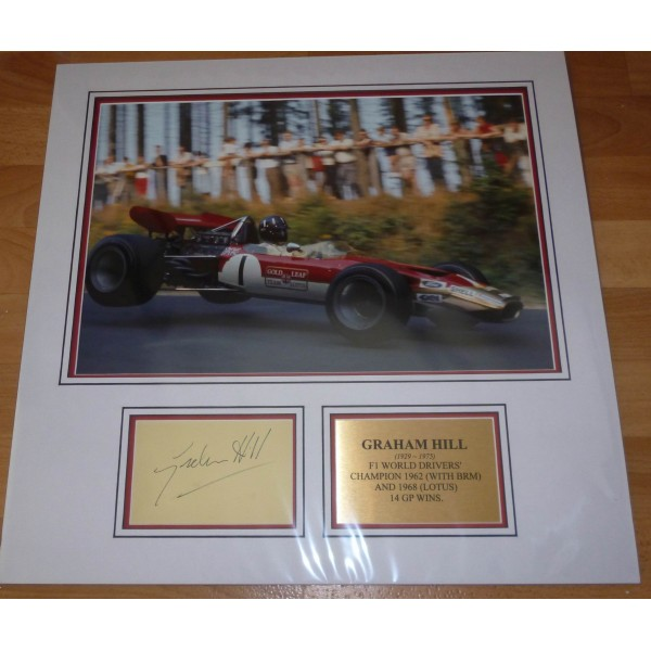 Graham Hill Lotus F1 genuine authentic signed autograph display