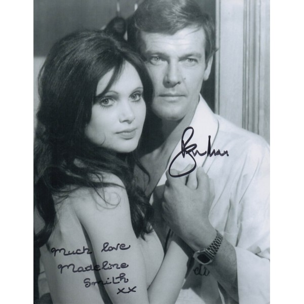 James Bond Roger Moore Madeline Smith genuine authentic signed autograph photo