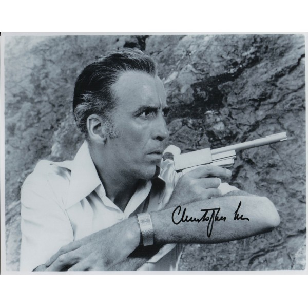 James Bond Christopher Lee genuine signed authentic signature photo