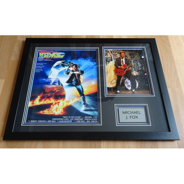 Michael J Fox Back to the Future signed genuine signature photo display