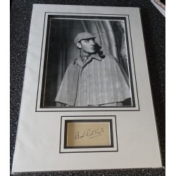 Basil Rathbone signed genuine signature autograph display