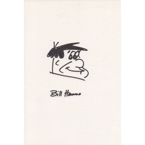 Bill Hanna Fred Flintstone signed genuine signature autograph sketch