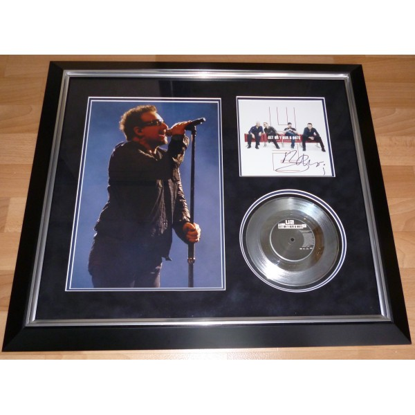 Bono U2 genuine signed autograph vinyl record display