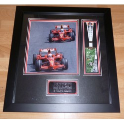 Filipe Massa Kimi Raikkonen Ferrari F1 authentic signed autograph photo display
