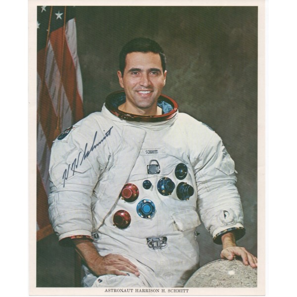 Harrison Schmitt Apollo space signed genuine signature photo