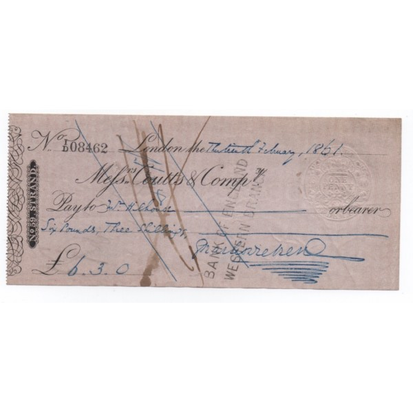 Charles Dickens signed authentic genuine signature cheque check