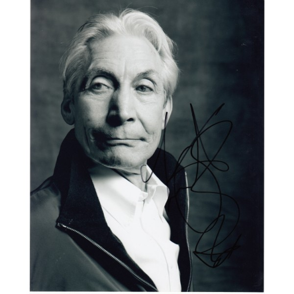Rolling Stones Charlie Watts signed original genuine autograph authentic photo