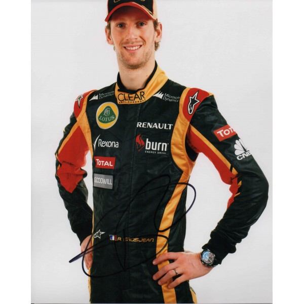 Romain Grosjean Lotus Renault F1 genuine authentic autograph signed photo