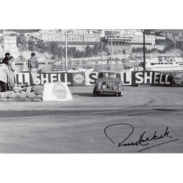 Paddy Hopkirk Monte Carlo Rally authentic genuine autograph signed photo.